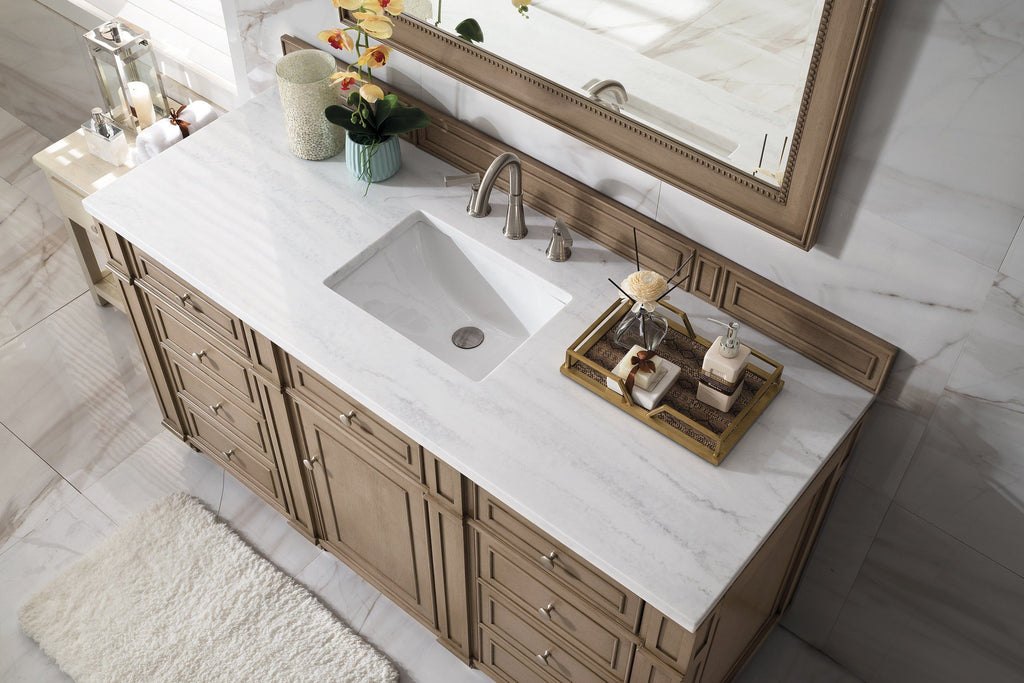 "60"" Bristol Whitewashed Walnut Single Bathroom Vanity - vanitiesdepot.com"