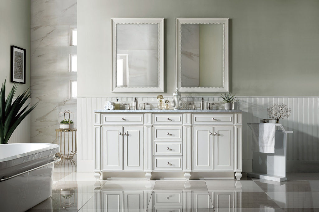 "72"" Bristol Cottage White Double Bathroom Vanity, James Martin Vanities - vanitiesdepot.com"