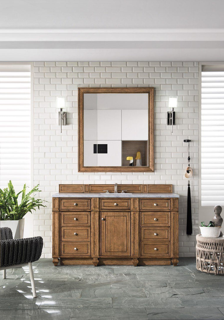 "60"" Bristol Saddle Brown Single Bathroom Vanity"