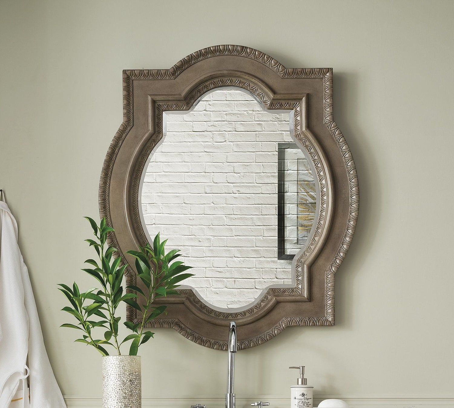 "Castilian 35"" Double Arch Mirror, Empire Gray, James Martin Vanities - vanitiesdepot.com"