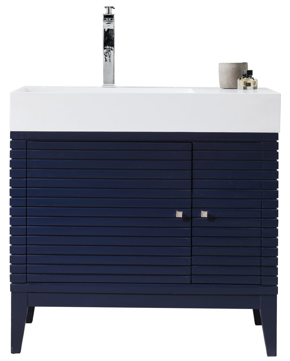 "36"" Linear Single Bathroom Vanity, Victory Blue, James Martin Vanities - vanitiesdepot.com"