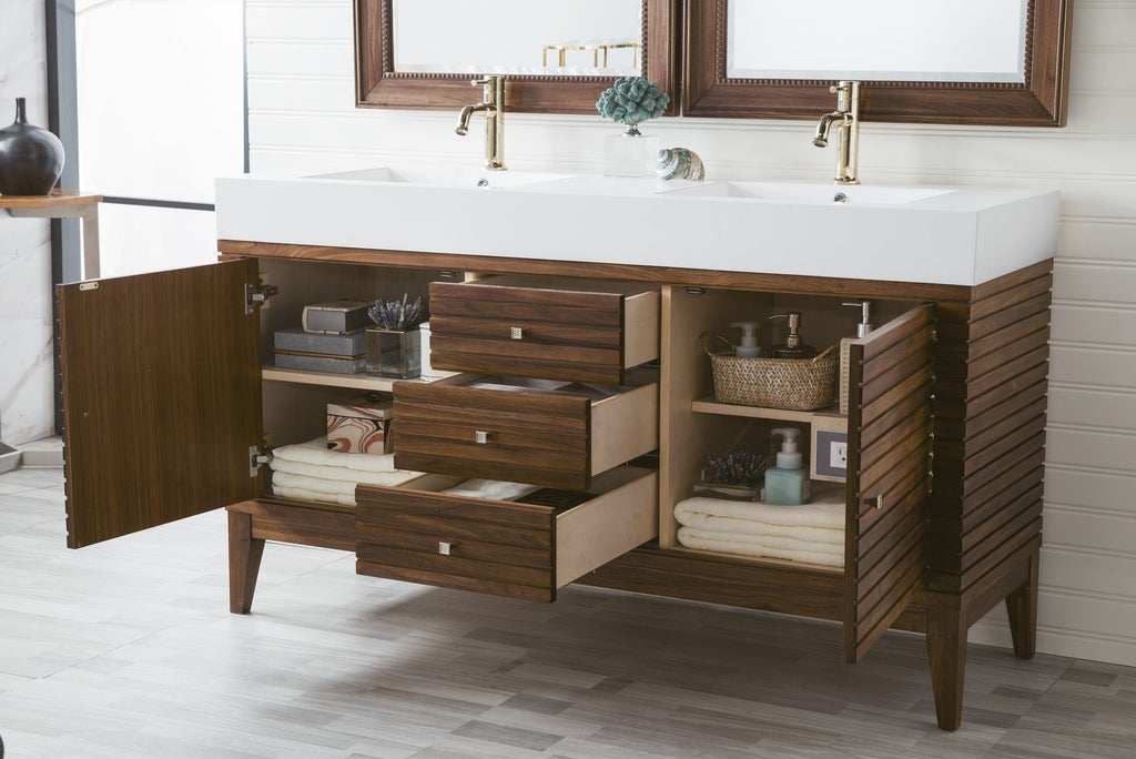 "59"" Linear Double Bathroom Vanity, Mid Century Walnut, James Martin Vanities - vanitiesdepot.com"