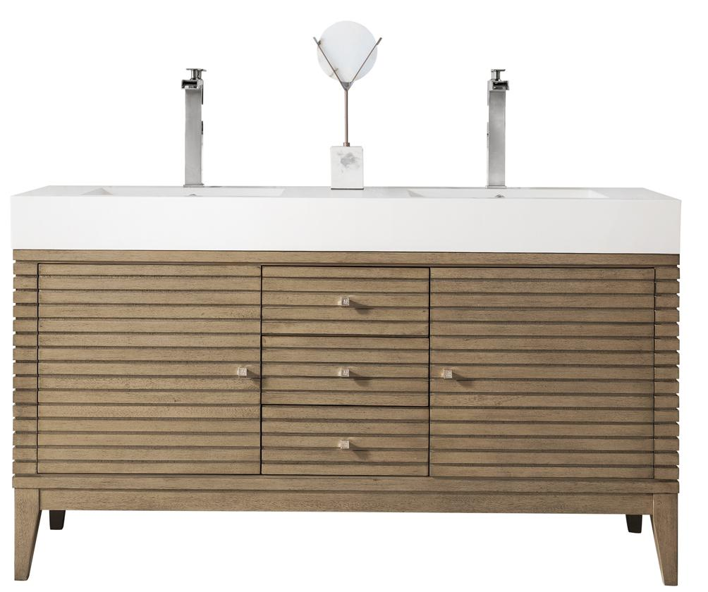 "59"" Linear Double Bathroom Vanity, Whitewashed Walnut, James Martin Vanities - vanitiesdepot.com"