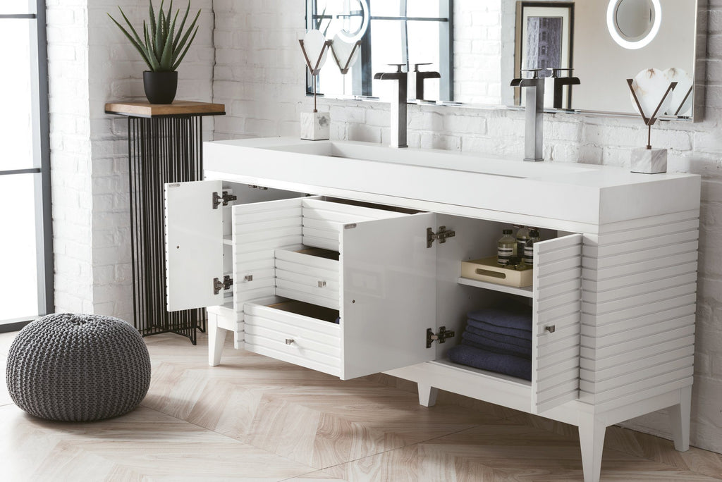 "72"" Linear Double bathroom Vanity, Glossy White, James Martin Vanities - vanitiesdepot.com"