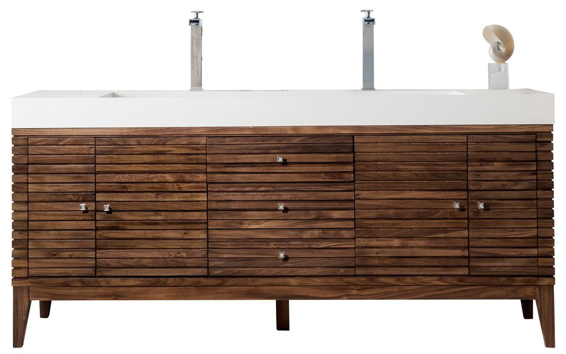 "72"" Linear Double Bathroom Vanity, Mid Century Walnut, James Martin Vanities - vanitiesdepot.com"