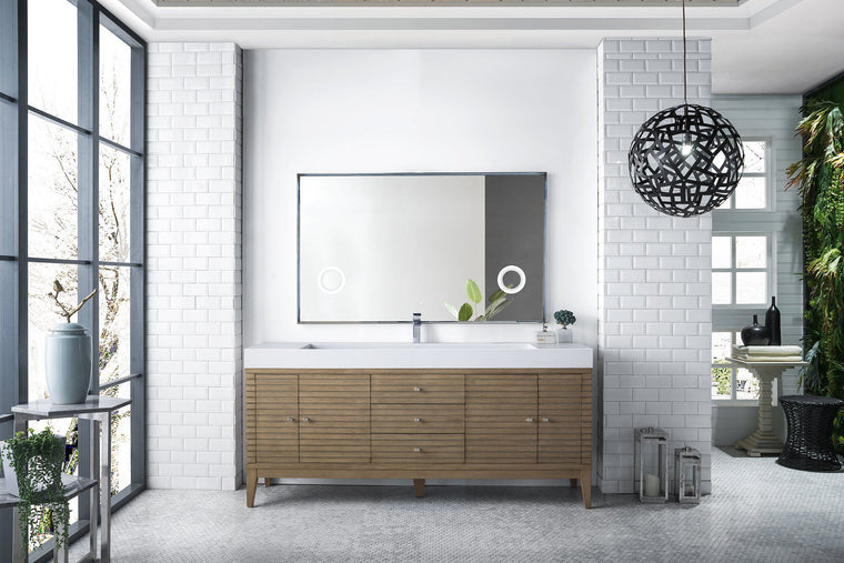 "72"" Linear Single Bathroom Vanity, White Washed Walnut, James Martin Vanities - vanitiesdepot.com"
