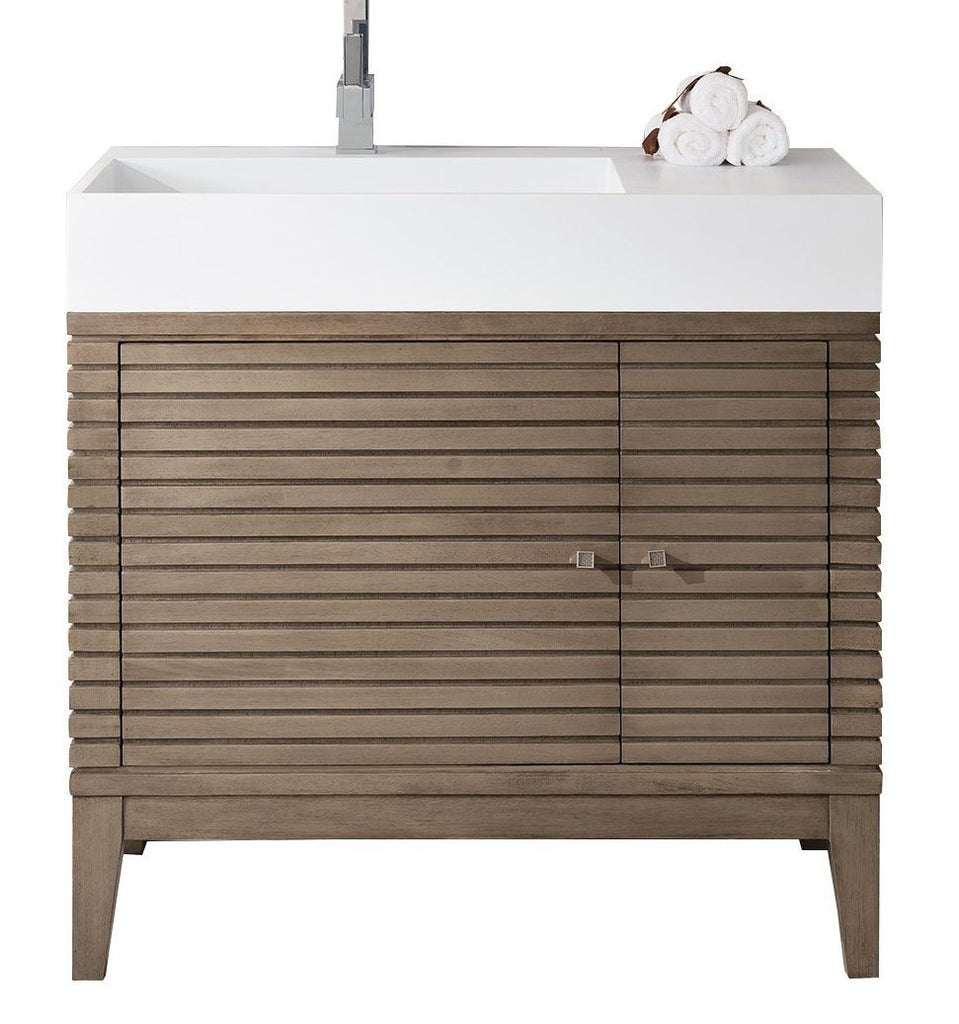 "36"" Linear Single Sink Bathroom Vanity, Whitewashed Walnut, James Martin Vanities - vanitiesdepot.com"