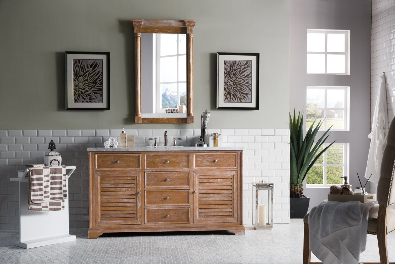 "60"" Savannah Driftwood Single Bathroom Vanity - vanitiesdepot.com"