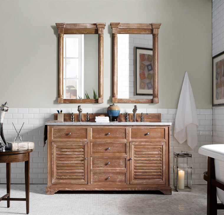 "60"" Savannah Driftwood Double Sink Bathroom Vanity, James Martin Vanities - vanitiesdepot.com"