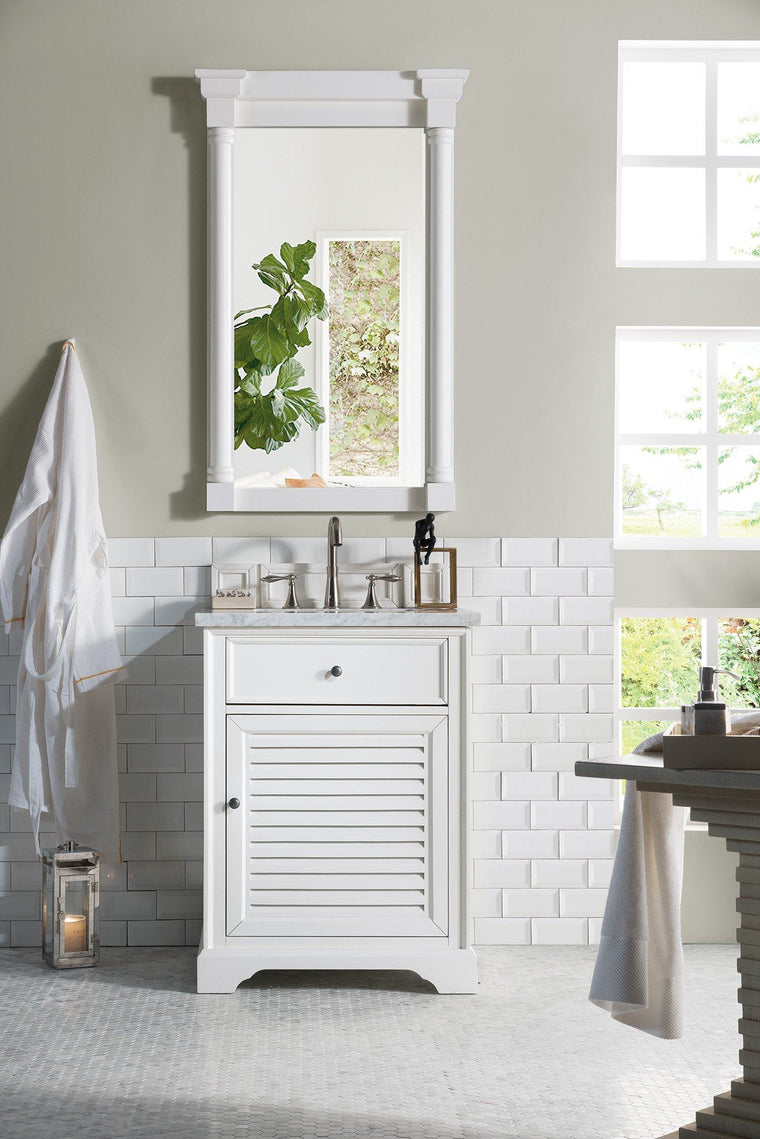 "26"" Savannah Bright White Single Bathroom Vanity - vanitiesdepot.com"