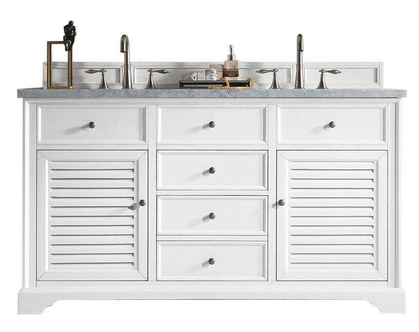 "60"" Savannah Bright White Double Sink Bathroom Vanity"