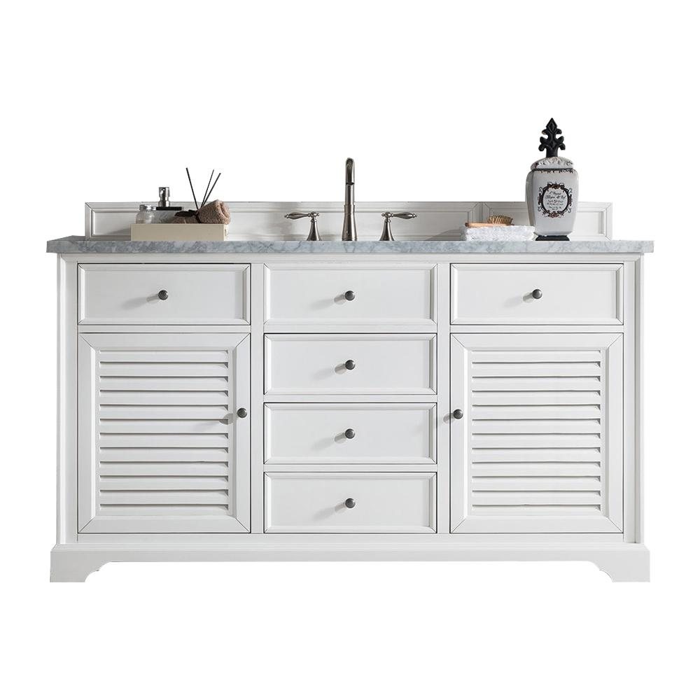 "60"" Savannah White Single Bathroom Vanity, James Martin Vanities - vanitiesdepot.com"