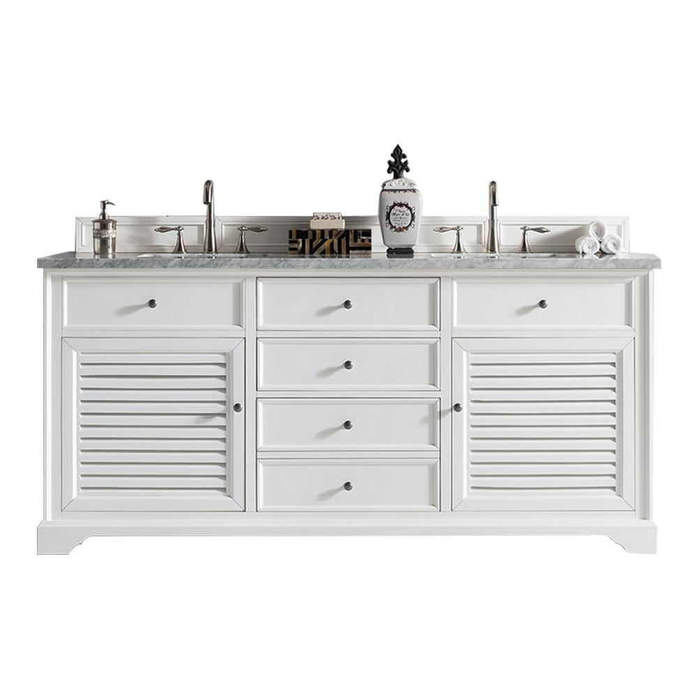 "72"" Savannah Bright White Double Sink Bathroom Vanity - vanitiesdepot.com"
