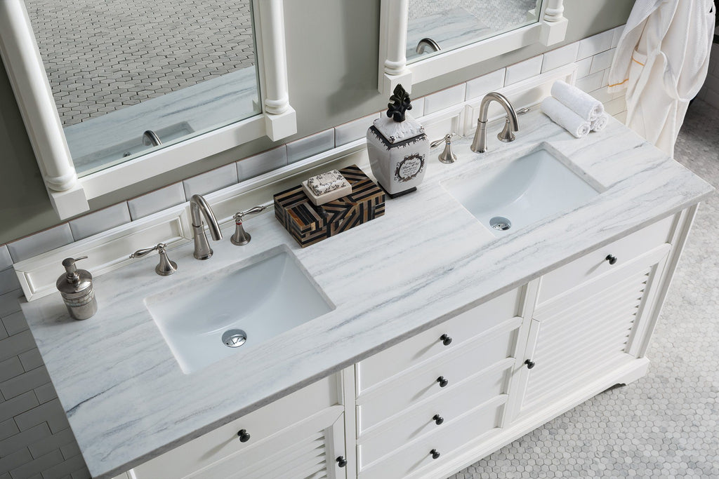"72"" Savannah White Double Sink Bathroom Vanity, James Martin Vanities - vanitiesdepot.com"