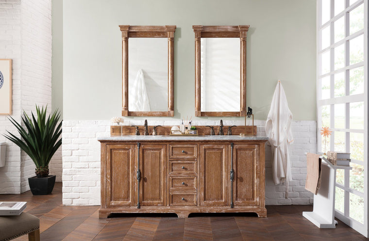 "72"" Providence Driftwood Double Sink Bathroom Vanity, James Martin Vanities - vanitiesdepot.com"