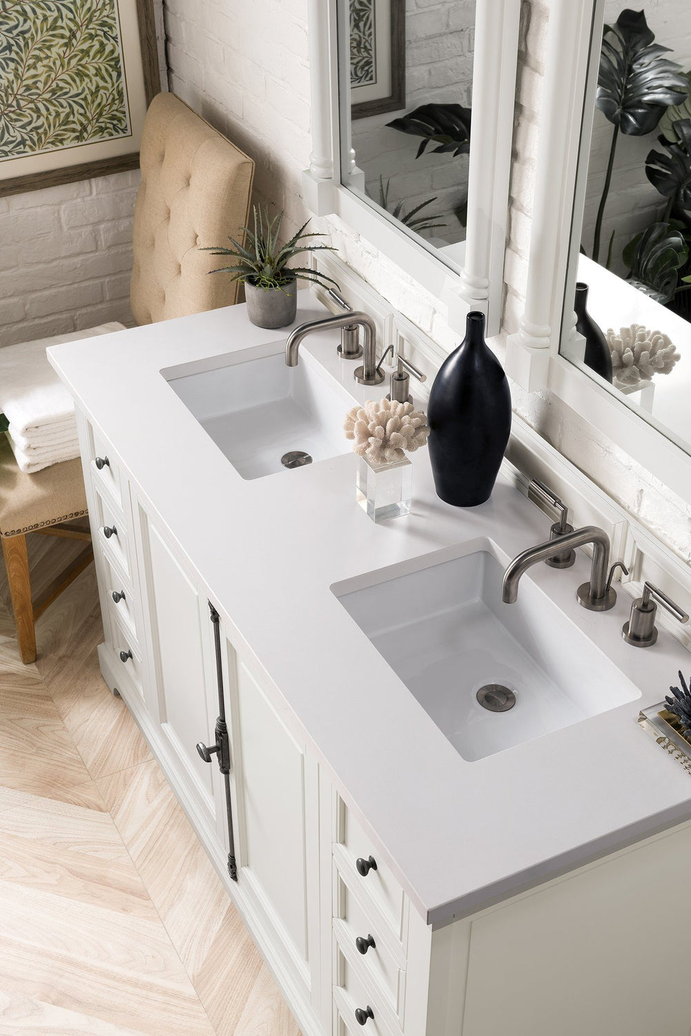 "60"" Providence Bright White Double Sink Bathroom Vanity"