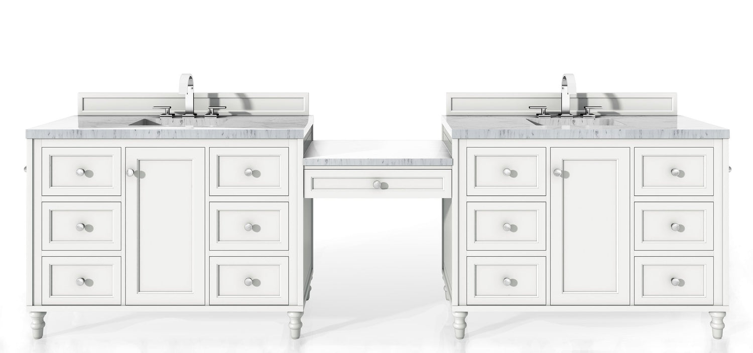 "122"" Copper Cove Encore Bright White Double Sink Bathroom Vanity, James Martin Vanities - vanitiesdepot.com"