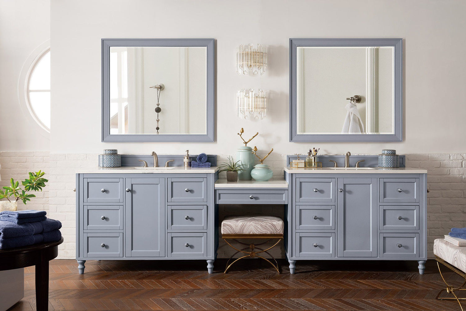 "122"" Copper Cove Encore Silver Gray Double Sink Bathroom Vanity, James Martin Vanities - vanitiesdepot.com"