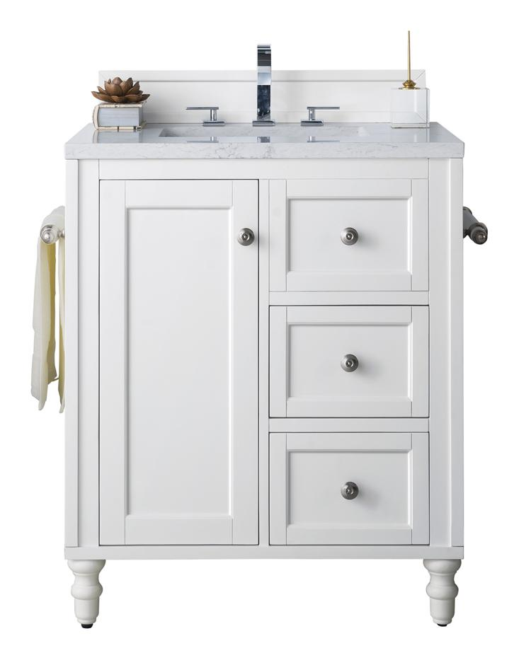 "30"" Copper Cove Encore White Single Sink Bathroom Vanity, James Martin Vanities - vanitiesdepot.com"