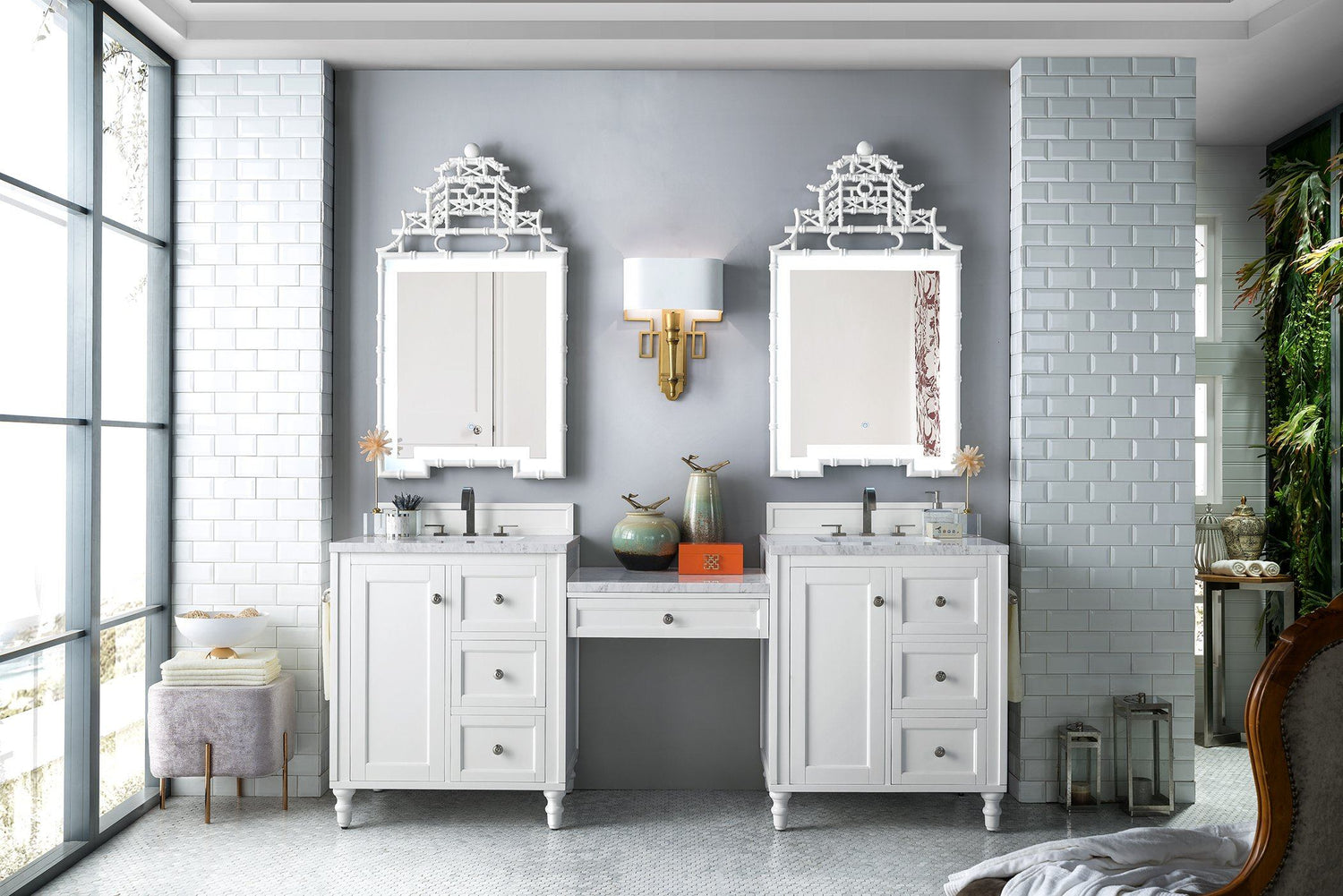 "86"" Copper Cove Encore Bright White Double Sink Bathroom Vanity, James Martin Vanities - vanitiesdepot.com"