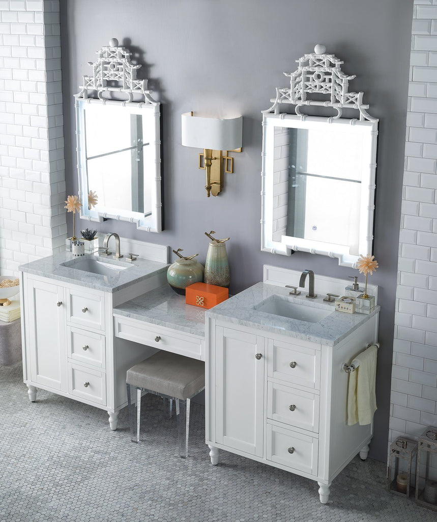 "86"" Copper Cove Encore Bright White Double Sink Bathroom Vanity - vanitiesdepot.com"