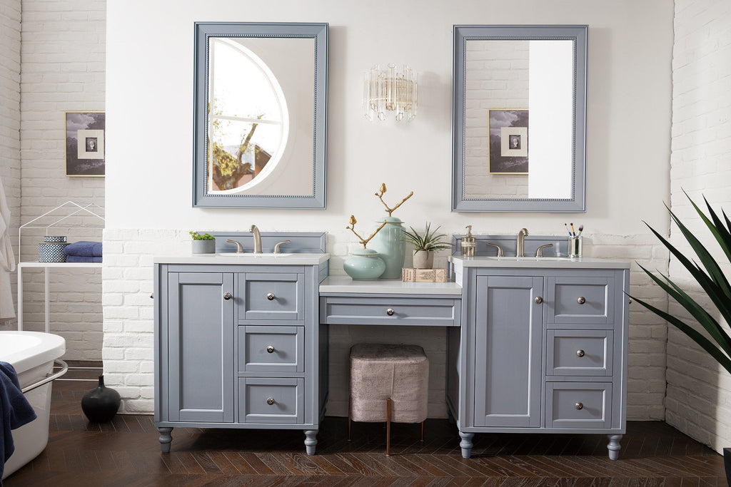 "86"" Copper Cove Encore Silver Gray Double Sink Bathroom Vanity, James Martin Vanities - vanitiesdepot.com"