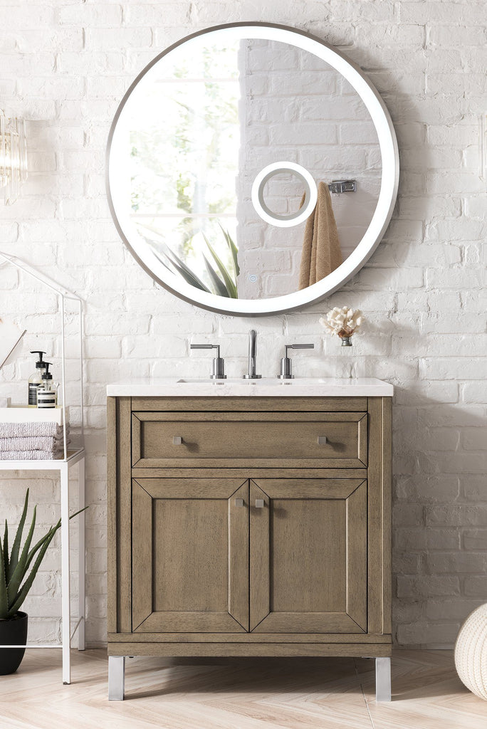 "30"" Chicago Single Bathroom Vanity, White Washed Walnut, James Martin Vanities - vanitiesdepot.com"