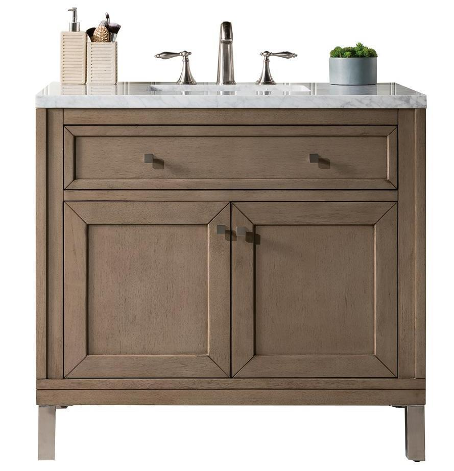 "36"" Chicago Whitewashed Walnut Single Sink Bathroom Vanity - vanitiesdepot.com"