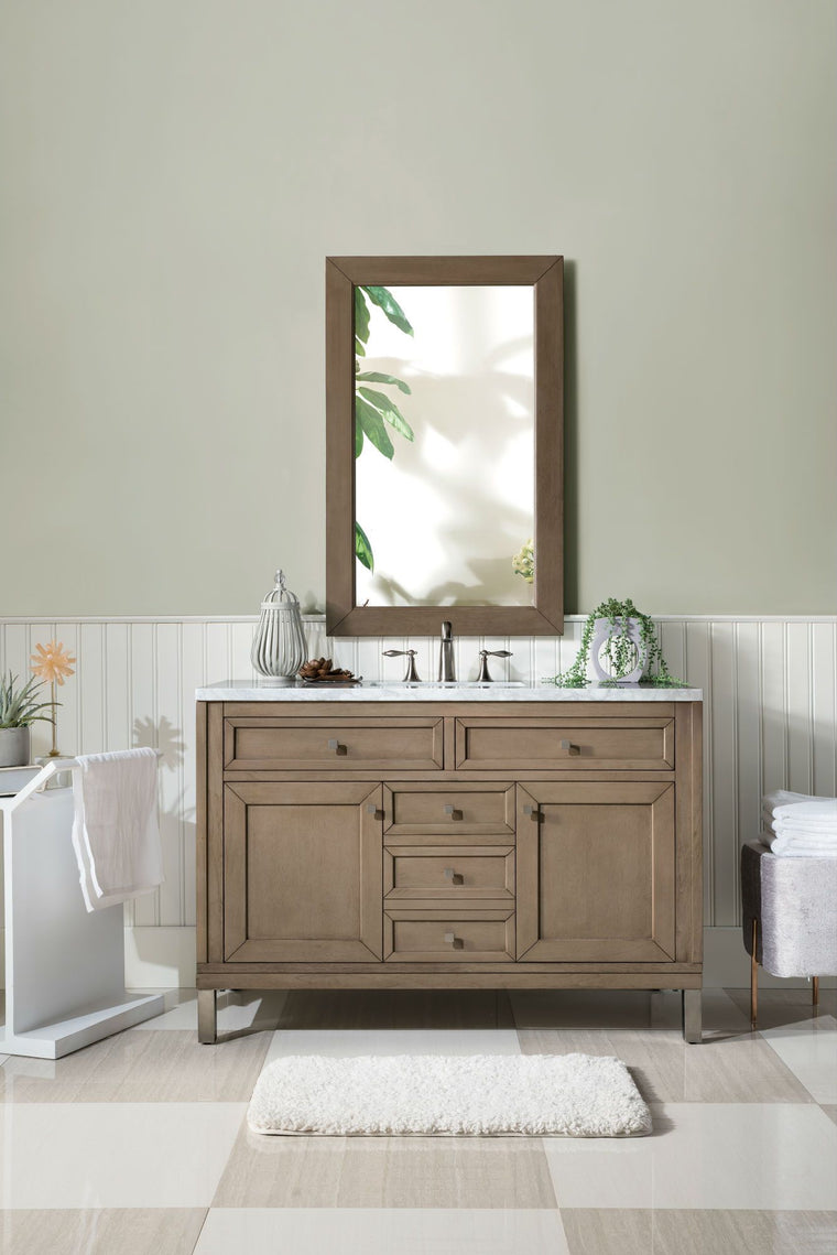 "48"" Chicago Whitewashed Walnut Single Sink Bathroom Vanity - vanitiesdepot.com"