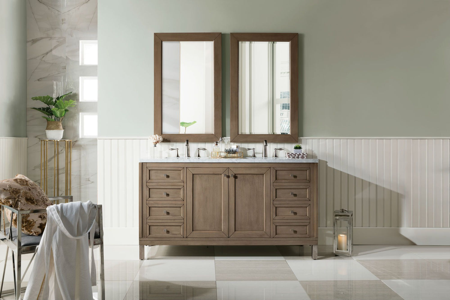 "60"" Chicago Whitewashed Walnut Double Sink Bathroom Vanity"