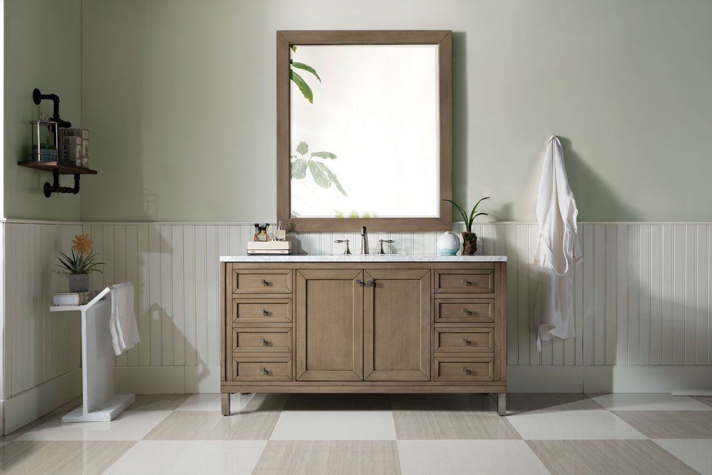 "60"" Chicago Whitewashed Walnut Single Sink Bathroom Vanity, James Martin Vanities - vanitiesdepot.com"