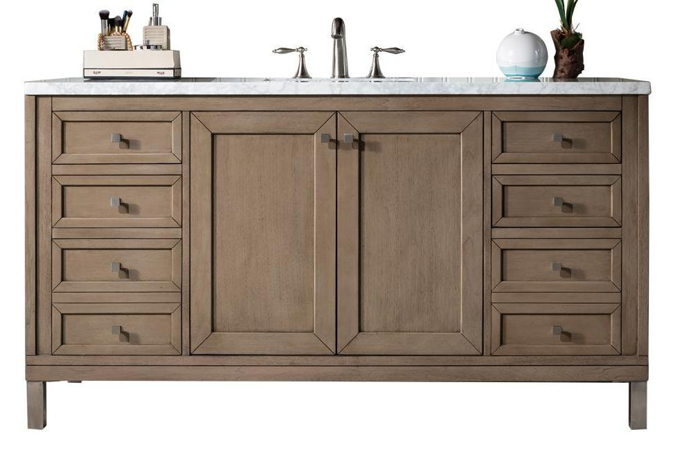 "60"" Chicago Whitewashed Walnut Single Sink Bathroom Vanity"