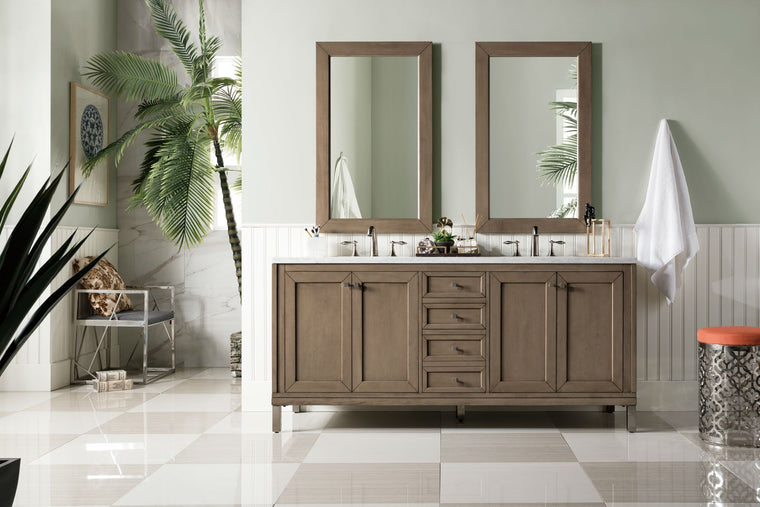 "72"" Chicago Whitewashed Walnut Double Sink Bathroom Vanity, James Martin Vanities - vanitiesdepot.com"