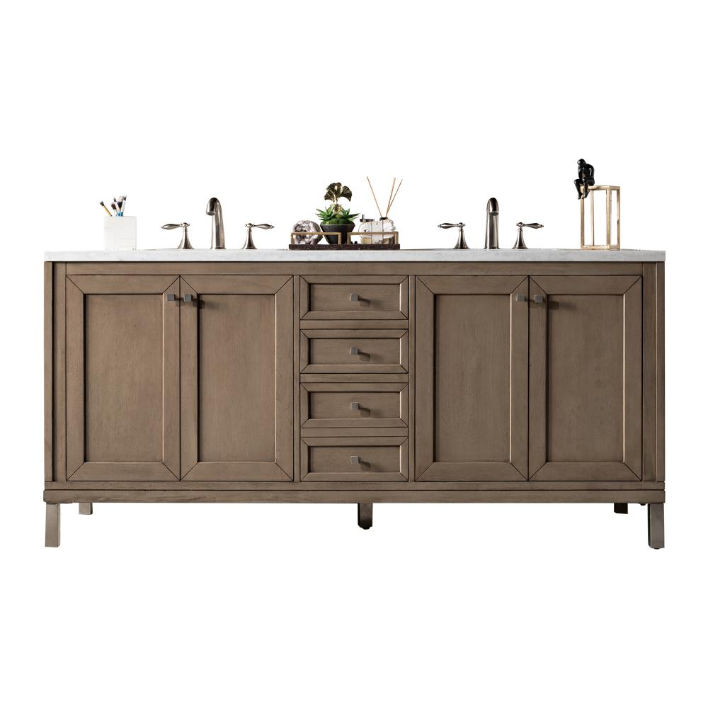 "72"" Chicago Whitewashed Walnut Double Sink Bathroom Vanity - vanitiesdepot.com"