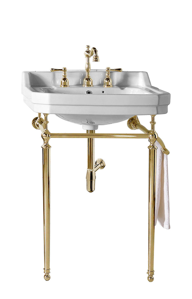 "24"" Wellington Single Bathroom Console Sink with Brass Finish Stand, James Martin Vanities - vanitiesdepot.com"