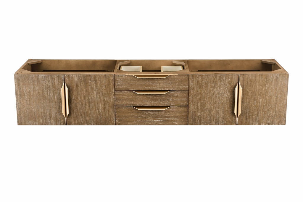 "72"" Mercer Island Latte Oak Double Sink Bathroom Vanity, Radiant Gold, James Martin Vanities - vanitiesdepot.com"