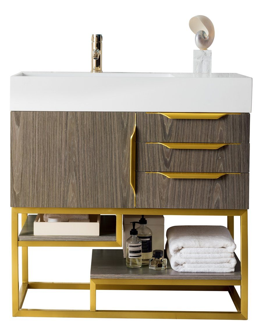 "36"" Columbia Single bathroom Vanity, Ash Gray, Radiant Gold, James Martin Vanities - vanitiesdepot.com"
