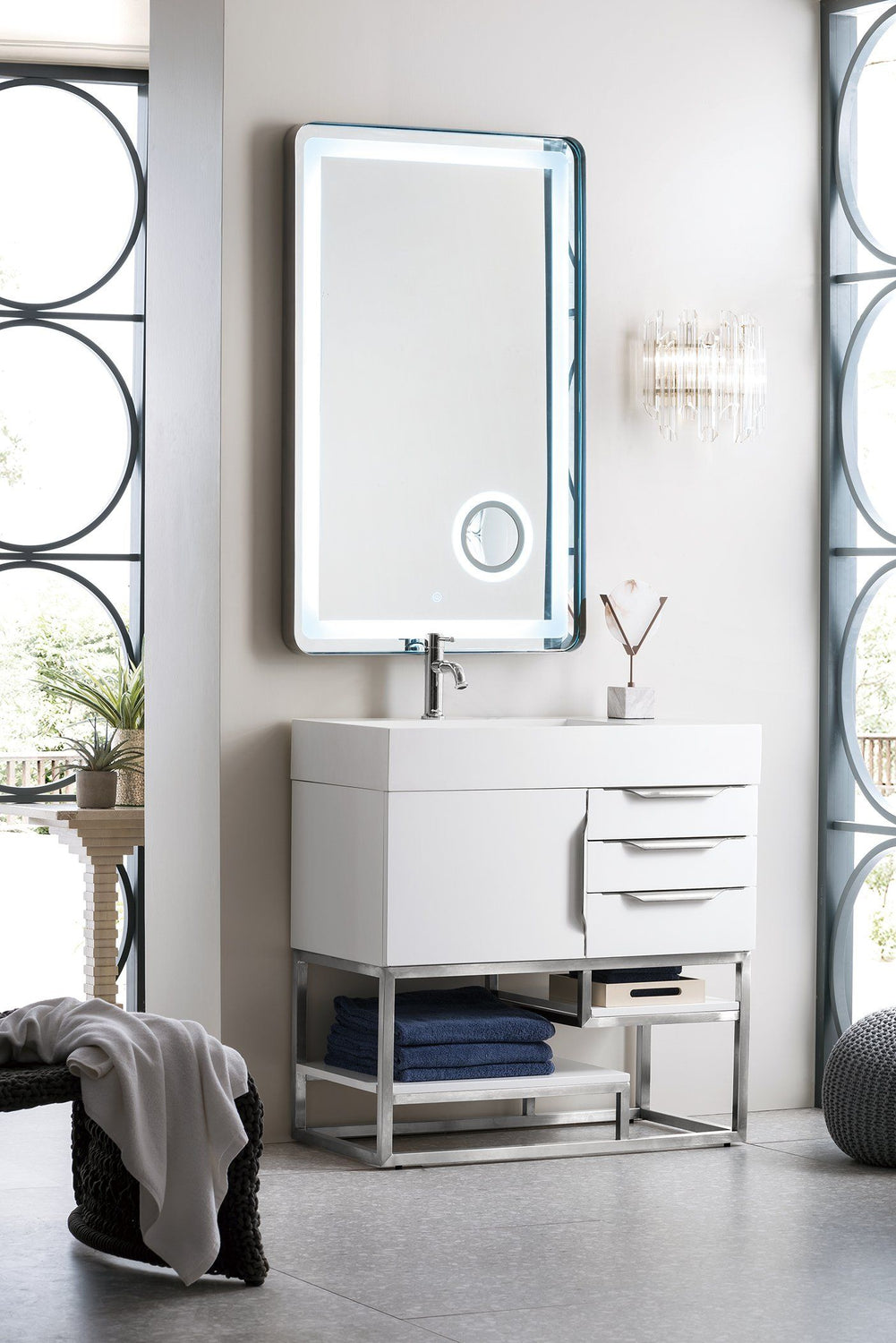 "36"" Columbia Single Bathroom Vanity, Glossy White, James Martin Vanities - vanitiesdepot.com"