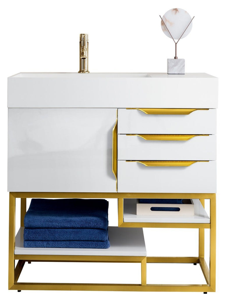"36"" Columbia Single Bathroom Vanity, Glossy White, Radiant Gold, James Martin Vanities - vanitiesdepot.com"
