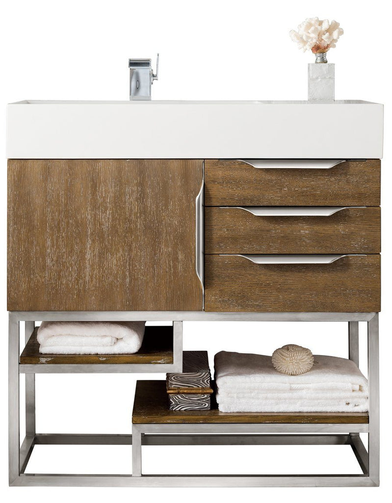 "36"" Columbia Single Bathroom Vanity, Latte Oak, James Martin Vanities - vanitiesdepot.com"