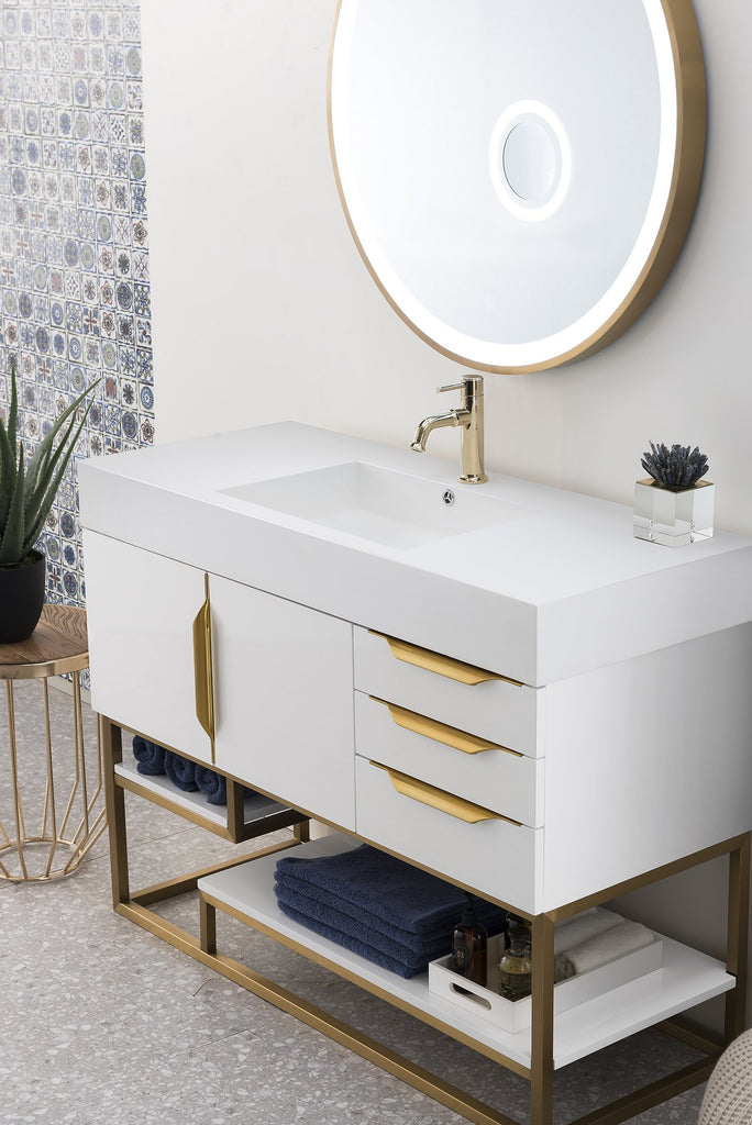 "48"" Columbia Single Bathroom Vanity, Glossy White, James Martin Vanities - vanitiesdepot.com"