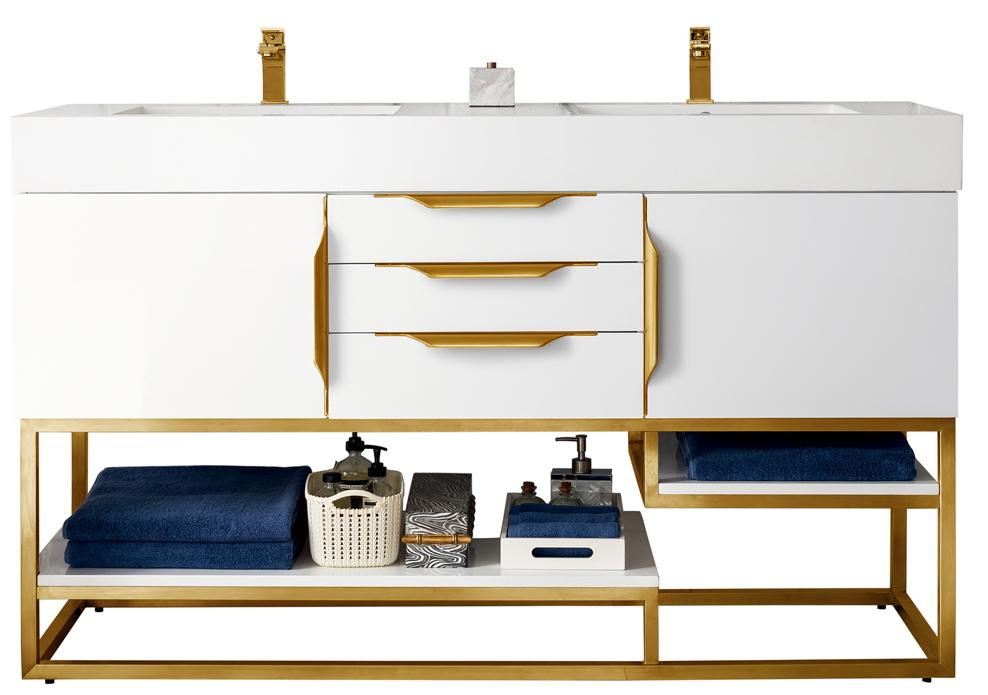 "59"" Columbia Double Bathroom Vanity, Glossy White, Radiant Gold, James Martin Vanities - vanitiesdepot.com"