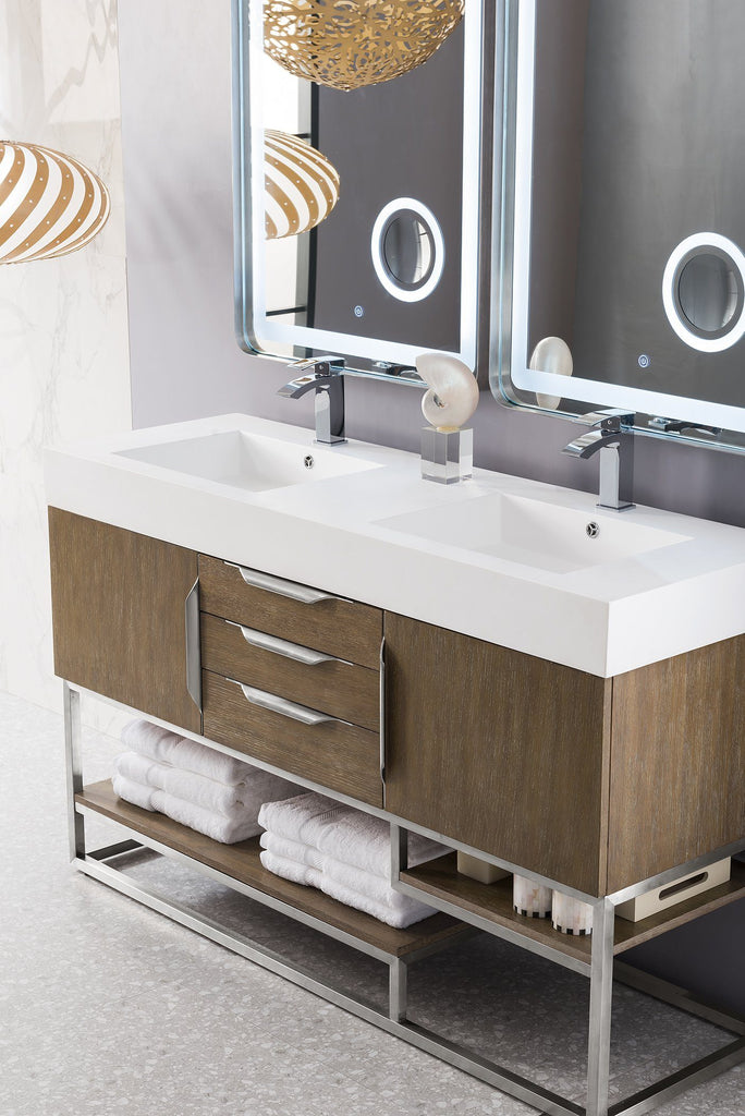 "59"" Columbia Double Bathroom Vanity, Latte Oak, James Martin Vanities - vanitiesdepot.com"