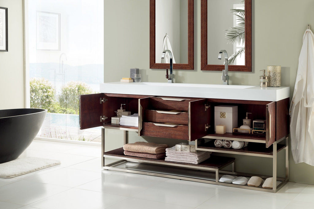 "72"" Columbia Coffee Oak Double Sink Bathroom Vanity, James Martin Vanities - vanitiesdepot.com"