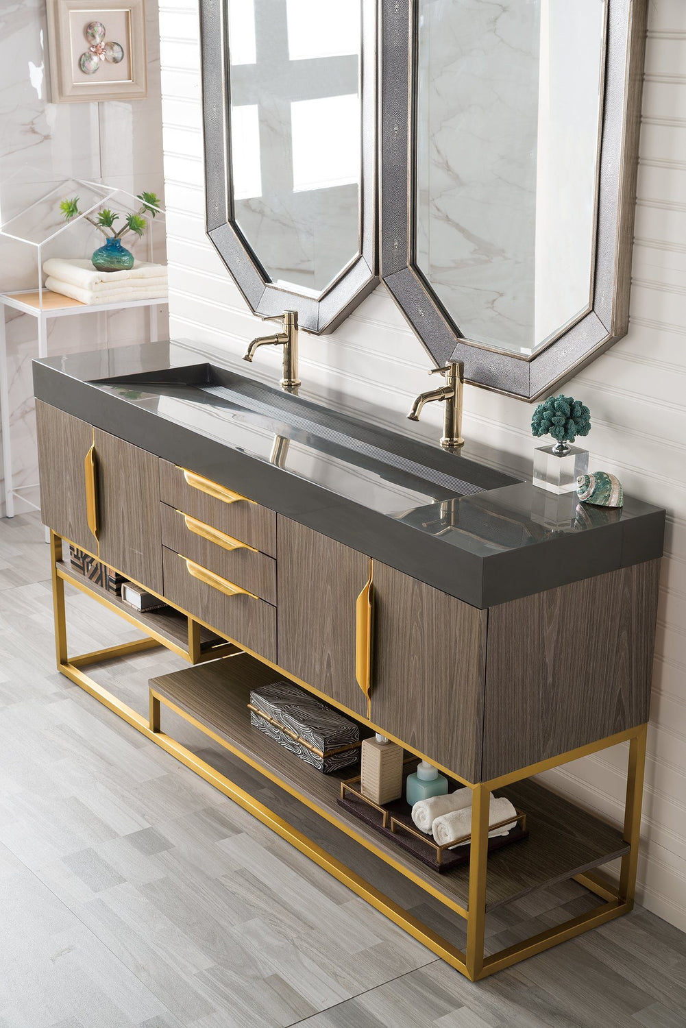 "72"" Columbia Double Bathroom Vanity, Ash Gray - vanitiesdepot.com"
