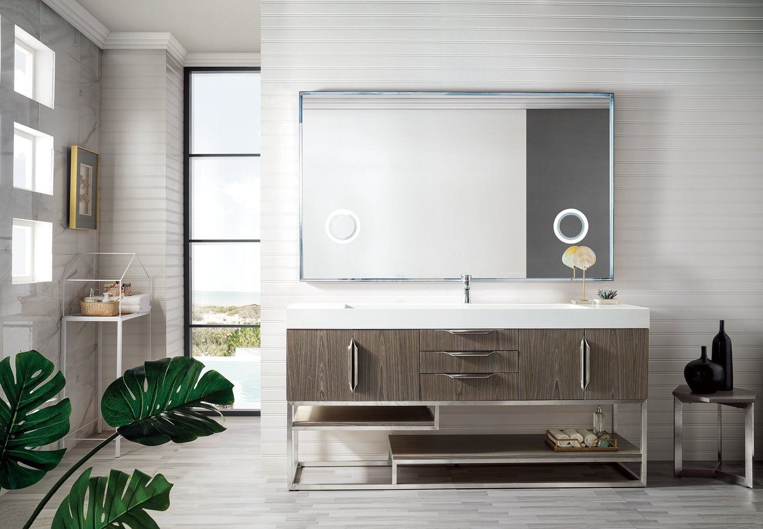 "72"" Columbia Single Bathroom Vanity, Ash Gray, James Martin Vanities - vanitiesdepot.com"