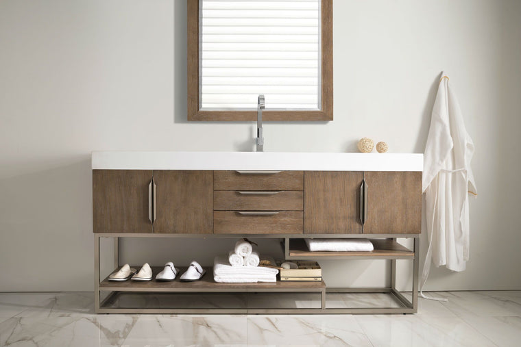 "72"" Columbia Latte Oak Single Sink Bathroom Vanity, James Martin Vanities - vanitiesdepot.com"
