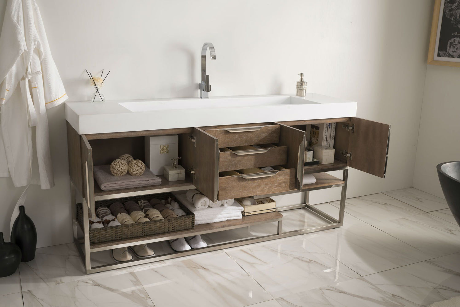 72 columbia latte oak single sink bathroom vanity - 72 inch single sink bathroom vanity ...