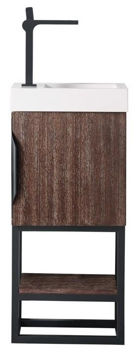 "16"" Columbia Single Bathroom Vanity, Coffee Oak w/ Matte Black"