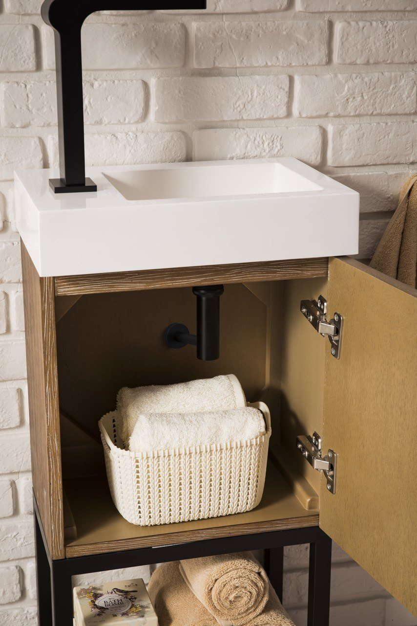 "16"" Columbia Single Bathroom Vanity, Latte Oak w/ Matte Black Base"